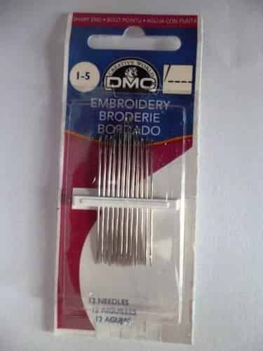 DMC Embroidery Needles Size 1-5 Pack of 12