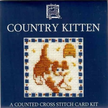 Textile Heritage Cross Stitch Kit - Card - Country Kitten - Made in Scotland