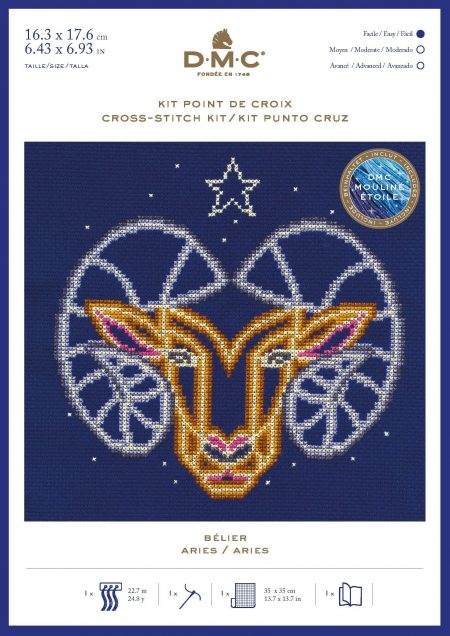 DMC Cross Stitch Kit - Zodiac Signs, Aries BK1862