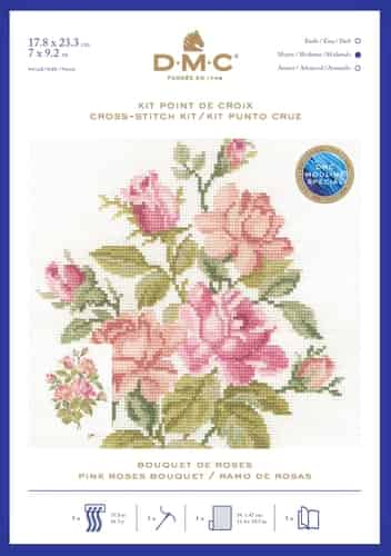 DMC Cross Stitch Kit - Bouquet of Roses - Pink Rose BK1894