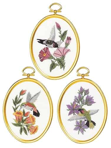 Janlynn Embroidery Kit - Hummingbirds - 3 Framed pictures