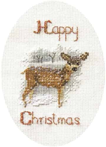 Derwentwater Designs Cross Stitch Kit - Christmas Card, Deer in a Snow Storm