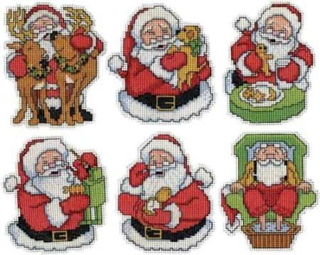 Design Works Cross Stitch Kit  Christmas Tree Ornaments - Jolly Santa
