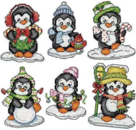 Design Works Cross Stitch Kit  Christmas Tree Ornaments - Penguins