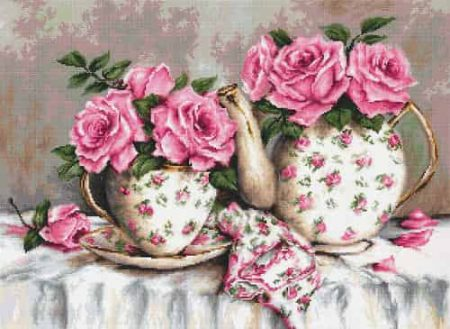 Luca S Needlepoint (Half Cross Stitch) Kit - Morning Tea and Roses G568