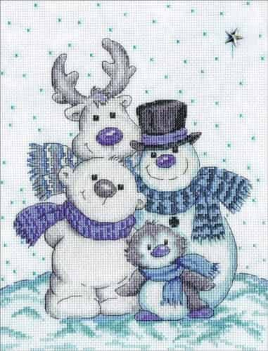 Design Works Cross Stitch Kit - Snow Pals, Christmas