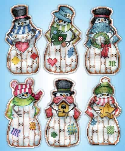 Design Works Cross Stitch Kit  Christmas Tree Ornaments - Country Snowmen