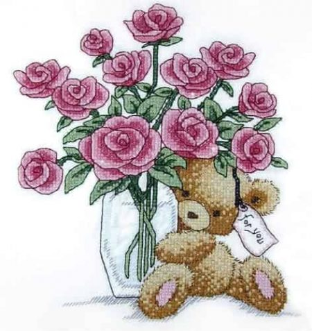 Design Works Stamped Cross Stitch Kit Bear with Roses 7015