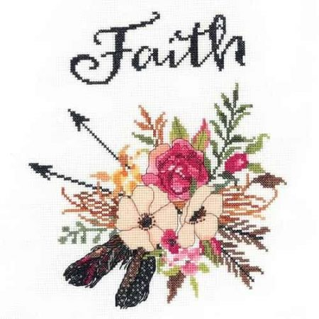 Janlynn Cross Stitch Kit - Watercolour Flowers - Faith