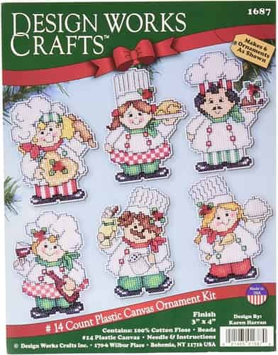 Design Works Cross Stitch Kit  Christmas Tree Ornaments - Chefs Cooking