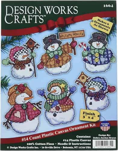 Design Works Cross Stitch Kit  Christmas Tree Ornaments - Welcome Winter Snowmen