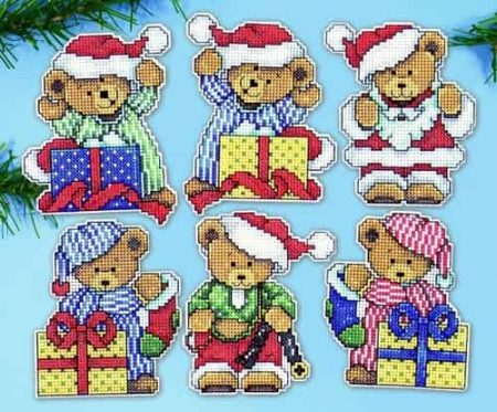 Design Works Cross Stitch Kit  Christmas Tree Ornaments - Little Christmas Bears