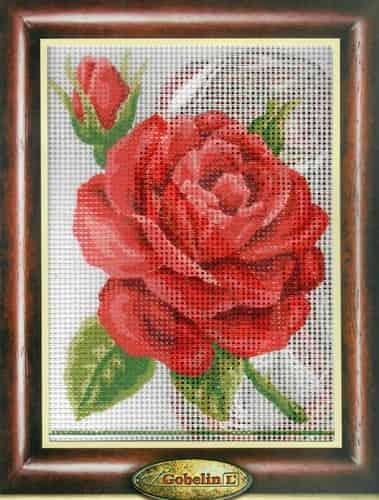 Gobelin Needlepoint Tapestry Kit - Red Rose and Rosebud