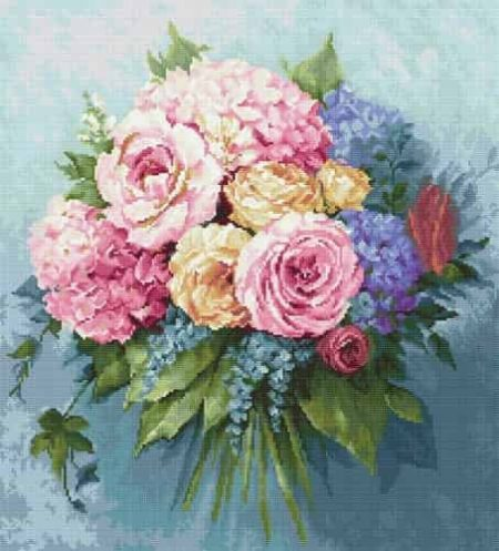 Luca S Needlepoint (Half Cross Stitch) Kit - Bouquet of Flowers G601