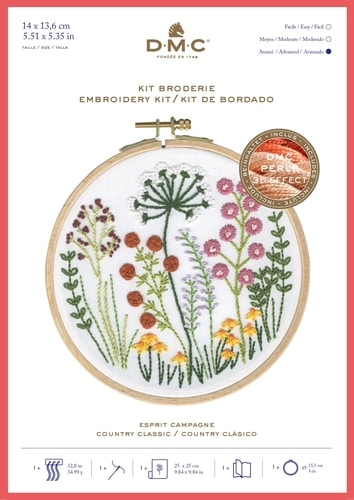 DMC Printed Embroidery Kit - Country Classic Flowers TB151 includes hoop