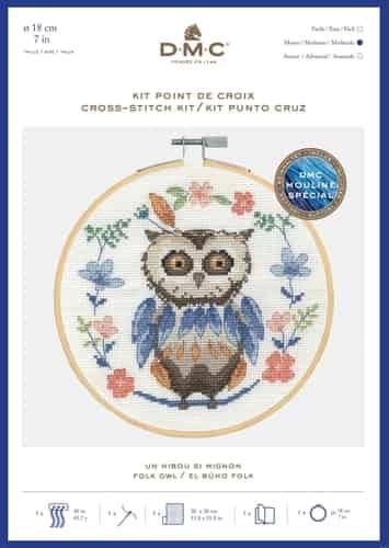 DMC Cross Stitch Kit - Folk Owl BK1925 includes hoop