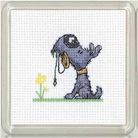 Heritage Crafts Cross Stitch Kit - Golden Years, Walkies Coaster