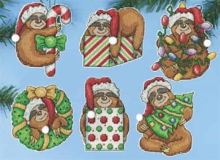 Design Works Cross Stitch Kit  Christmas Tree Ornaments - Sloth