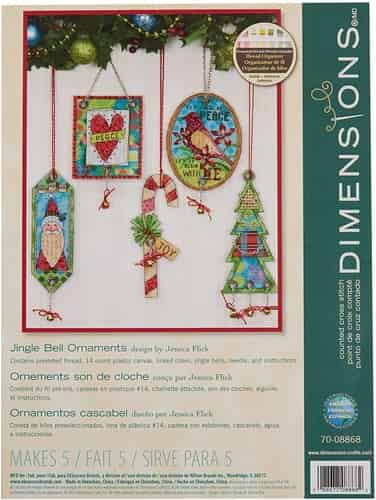 Dimensions Cross Stitch Kit - Jingle Bell Christmas Tree Ornaments Set of 5