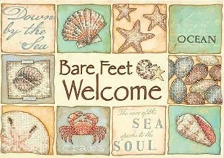 Dimensions Stamped Cross Stitch Kit - Bare Feet Welcome