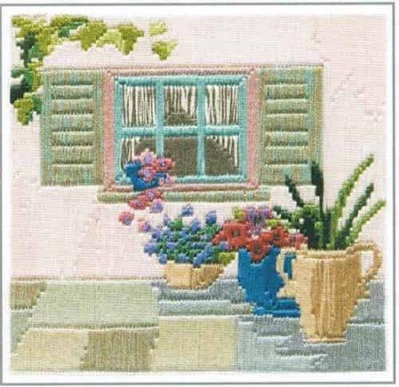 Derwentwater Designs Silken Long Stitch Kit - Courtyard Window