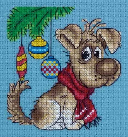 Klart Cross Stitch Kit - Waiting for a Present, Christmas, Dog