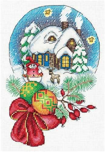 Klart Cross Stitch Kit - Christmas Snow Globe