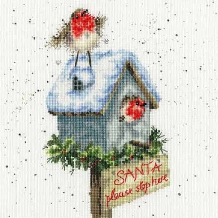 Bothy Threads Cross Stitch Kit - Santa Please Stop Here XHD55