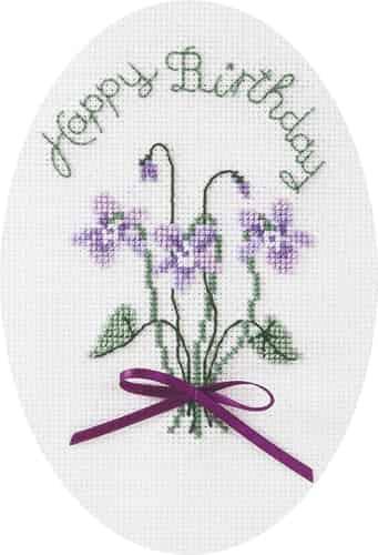 Derwentwater Designs Cross Stitch Kit - Birthday Card, Violets