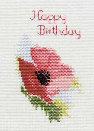 Derwentwater Designs Cross Stitch Kit - Birthday Card, Poppy