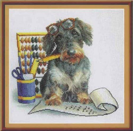 Panna Cross Stitch Kit - Accountant Pup