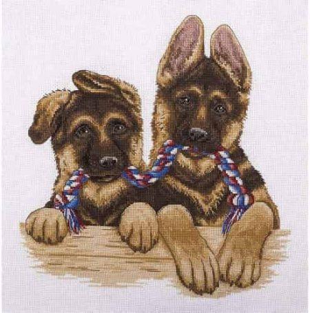 Panna Cross Stitch Kit - Alsatian Twin Pups