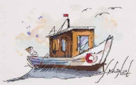 Panna Cross Stitch Kit - Watercolour Fishing Boat