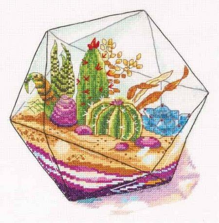 Panna Cross Stitch Kit - Plant Terrarium