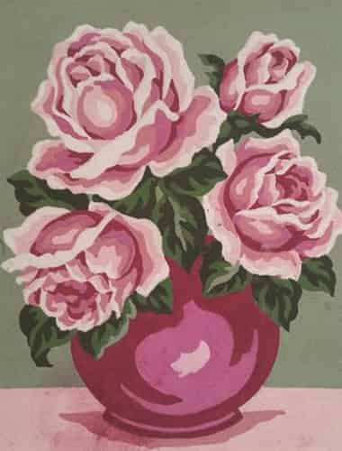 Grafitec Printed Tapestry Needlepoint Canvas - Pink Rose in Vase