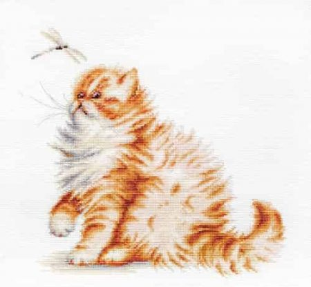 Luca-S Cross Stitch Kit - Kitten with a Dragonfly