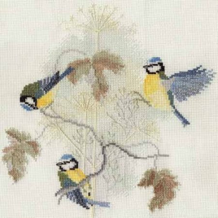 Derwentwater Designs Cross Stitch Kit - Blue Tits and Seed Heads, Birds