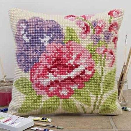 Twilleys of Stamford Cushion Front Cross Stitch Kit - Summer Blooms, Flower