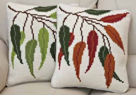 Twilleys of Stamford Cushion Front Cross Stitch Kit - Seasonal Leaves