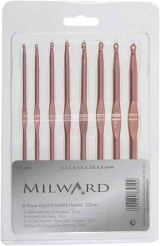 Millward Set of 8 Rose Gold Crochet Hooks Sizes 3 to 6.5mm, 15 cm long