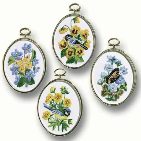 Janlynn Embroidery Kit - Birds and Butterflies - 4 Framed pictures to stitch
