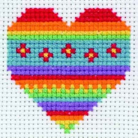 Anchor Beginners 1st Cross Stitch Kit - Beginners - Rainbow Heart 10011