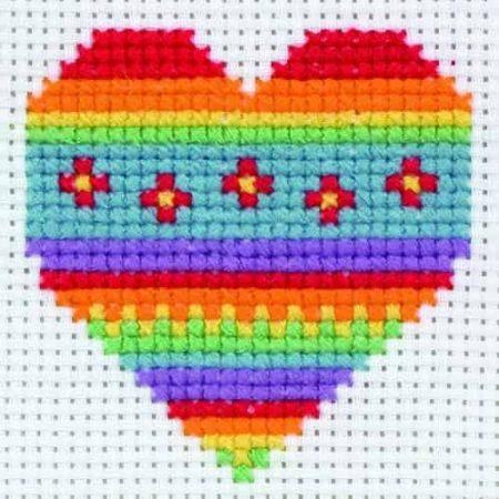 Anchor Beginners 1st Cross Stitch Kit - Beginners - Rainbow Heart 10011