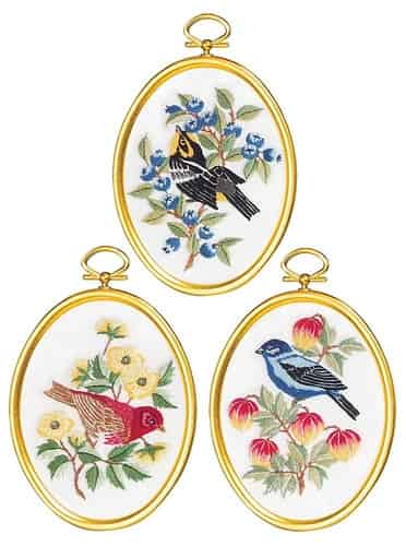 Janlynn Embroidery Kit - Feathers and Flora, Birds - 3 Framed pictures