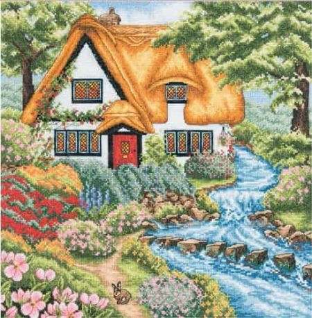 Anchor Cross Stitch Kit - Cottage Stream PCE959