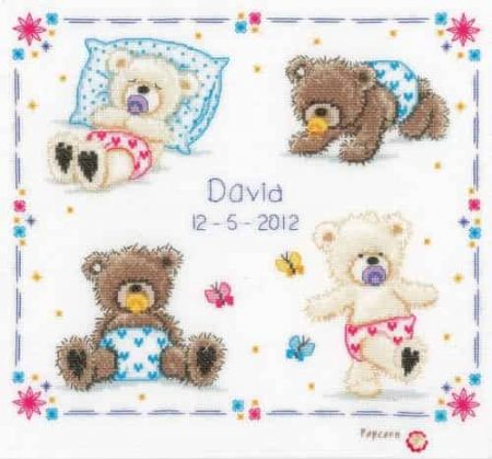 Vervaco Cross Stitch Kit - Popcorn, First Steps, Teddy Bear