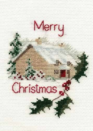 Derwentwater Designs Cross Stitch Kit - Christmas Card, Christmas Cottage