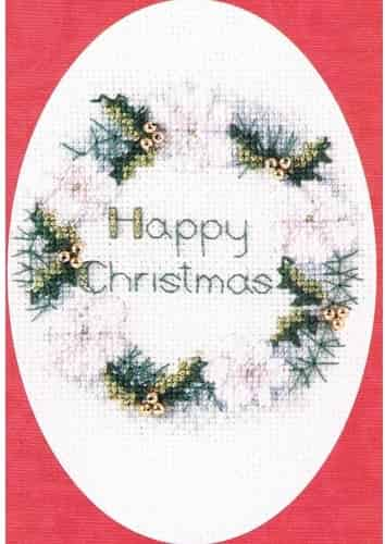 Derwentwater Designs Cross Stitch Kit - Christmas Card, Golden Wreath