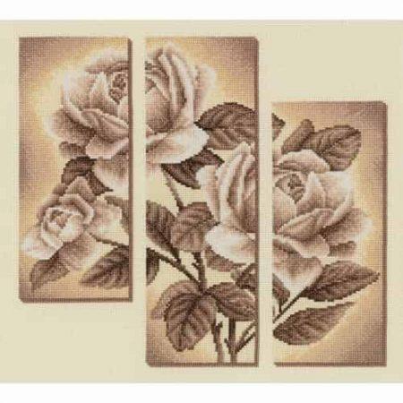 Panna Cross Stitch Kit - Rose Triptych