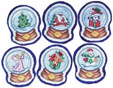 Design Works Cross Stitch Kit  Christmas Tree Ornaments - Snowglobes